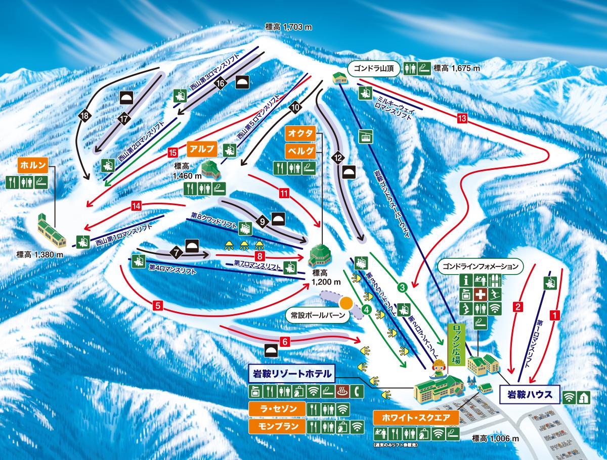 ホワイトワールド尾瀬岩鞍コースマップ